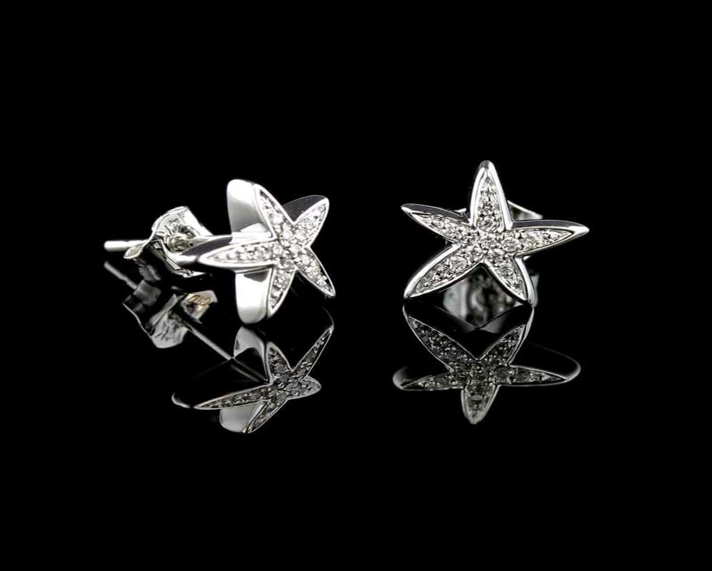 Starfish_Earrings_Diamond_White_Gold Summer Beach Jewelry