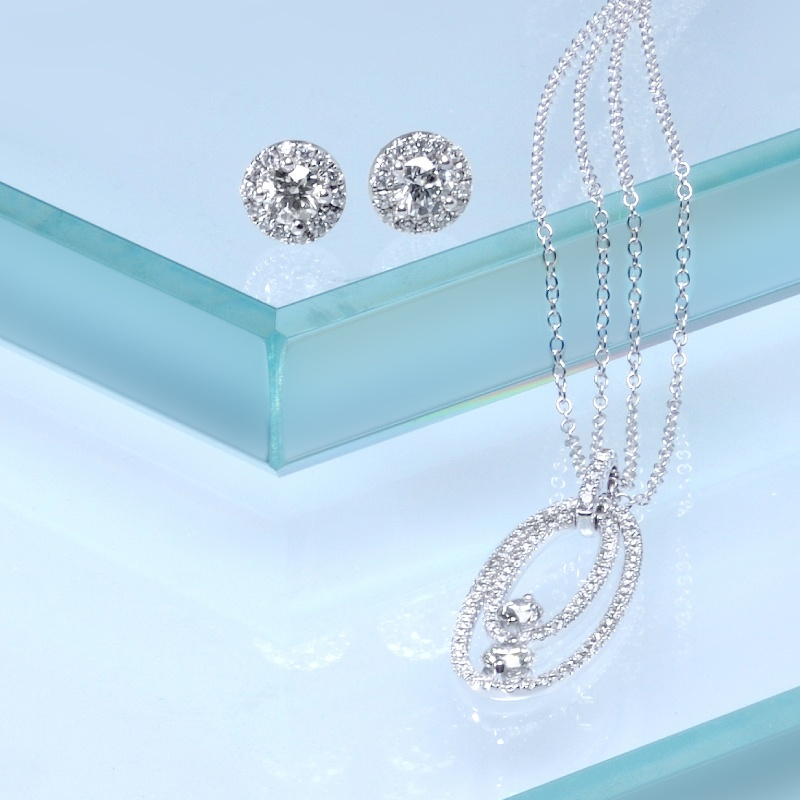 Diamond Stud Earrings and Necklace Beach Weddings Flair Boston