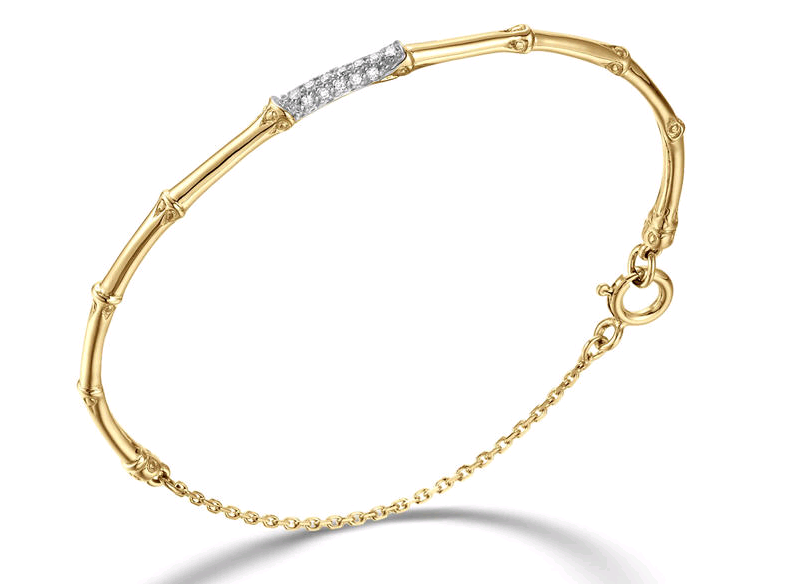 John Hardy Slim Bamboo Bracelet with Diamonds in 18K Yellow Gold