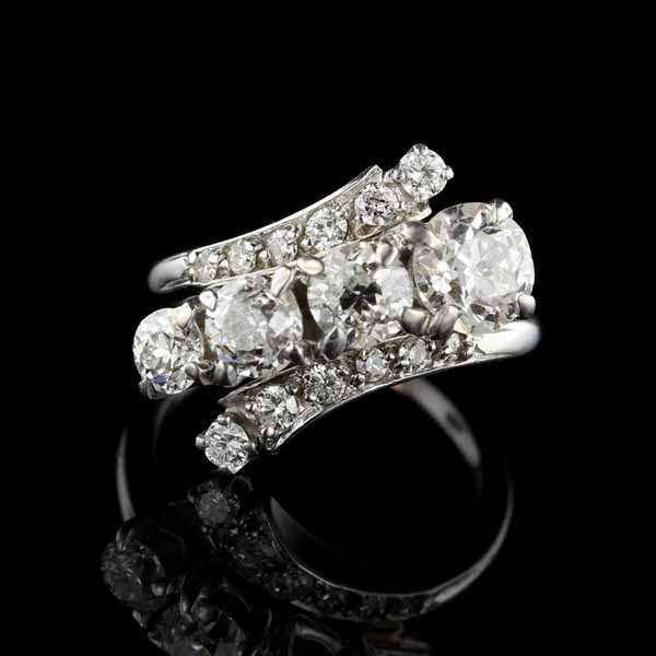 Vintage 14K White Gold Diamond Bypass Ring