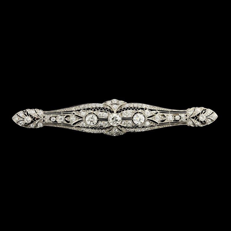 Vintage 14K White Gold Diamond Filigree Bar Pin