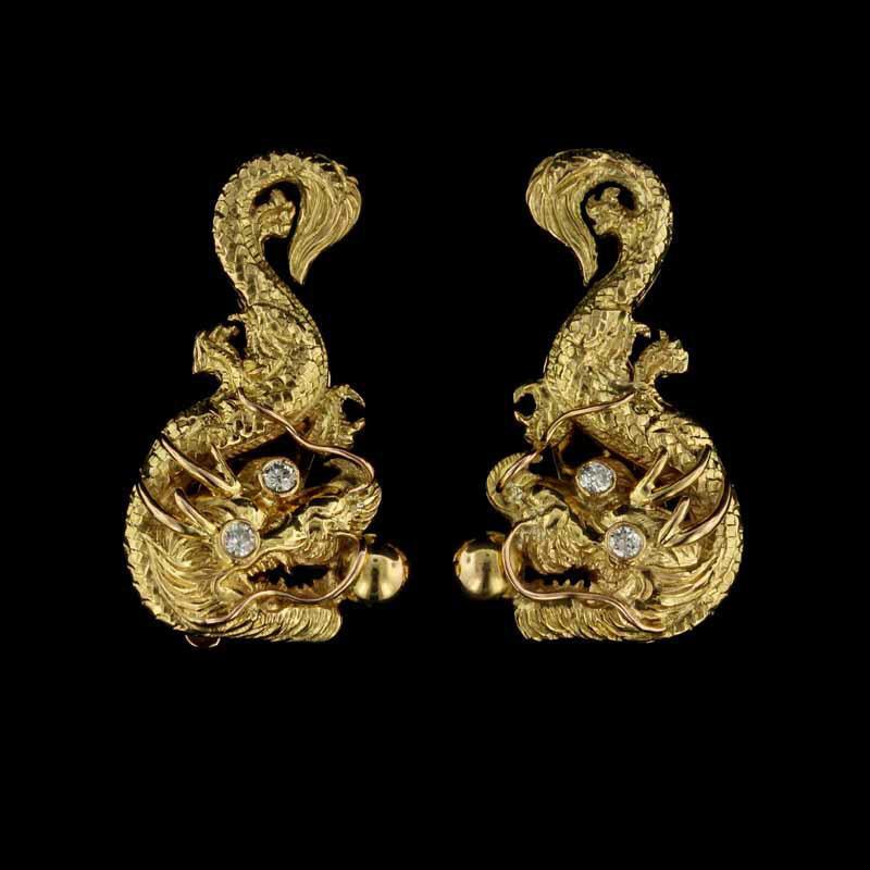 Vintage 18K Yellow Gold Diamond Dragon Earrings