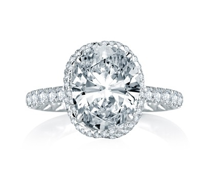 Dazzling Oval Pave Vine-Crossover Diamond Engagement Ring