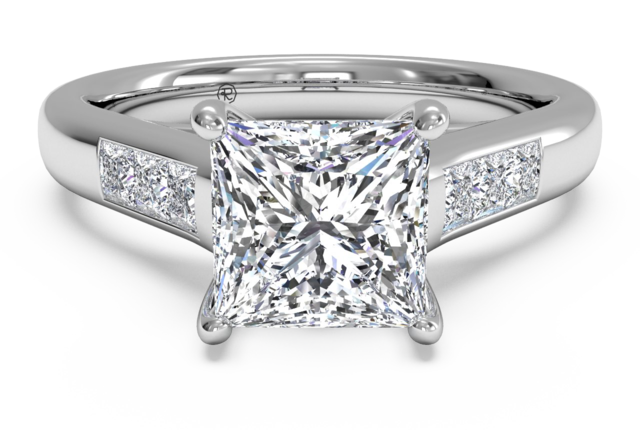 Princess Cut Channel Set Engagement Rings 7