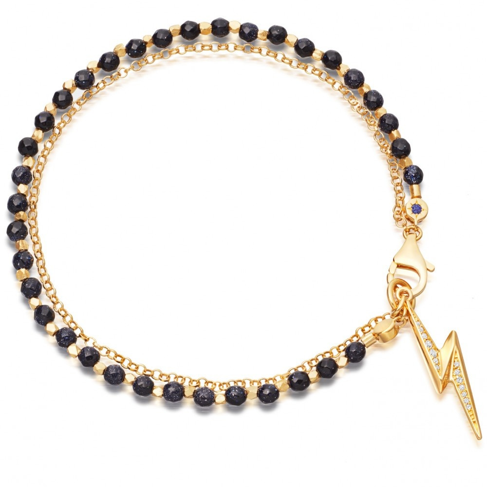 midnight lightning bolt biography bracelet
