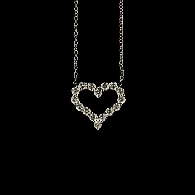 Tiffany & Co. Platinum and Diamond Open Heart Pendant