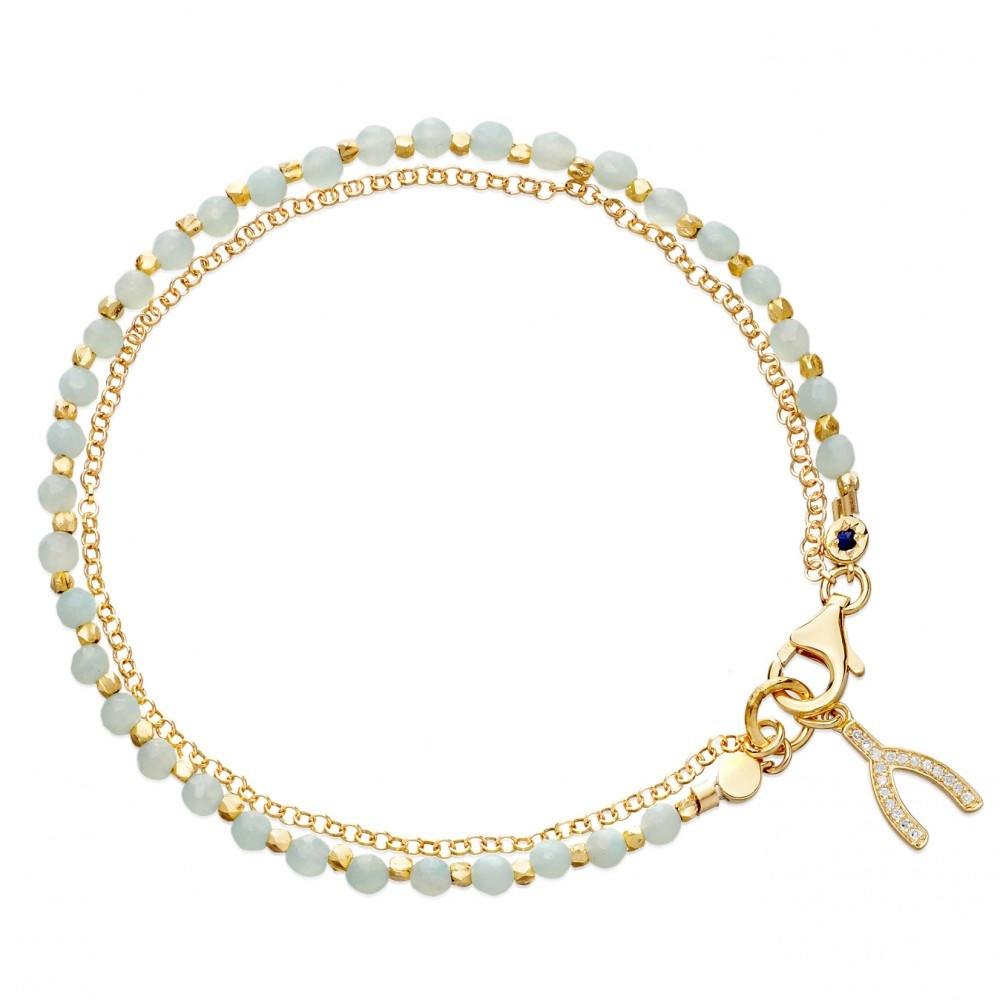 amazonite wishbone biography bracelet