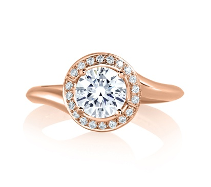 2) Rose Gold Swirl Diamond with Natural Pink Diamonds Embedded in Signature by A. Jaffe