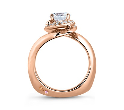 Rose Gold Swirl Diamond with Natural Pink Diamonds Embedded in Signature by A. Jaffe