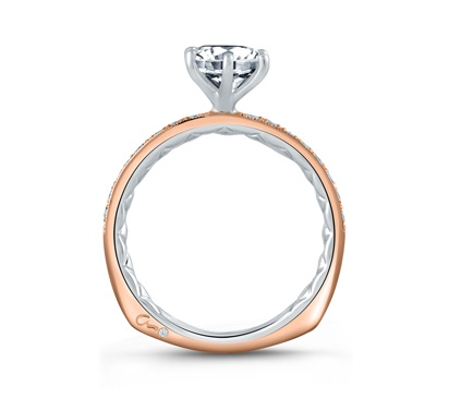 Two Tone Diamond Engagement Ring with Delicate Rose Gold Quilted Interior by A. Jaffe