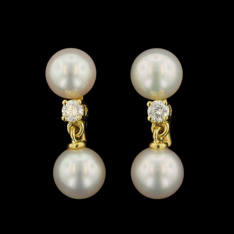 Mikimoto 18K Yellow Gold Cultured Pearl and Diamond Earrings
