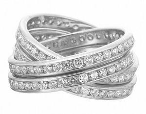 18K White Gold Four Row Diamond Rolling Ring