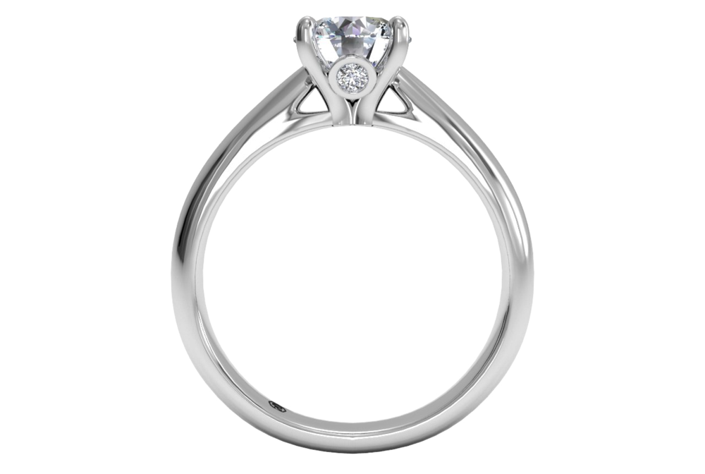 18K White Gold Solitaire Diamond Tapered Engagement Ring with Surprise Diamonds (Pictured Right):