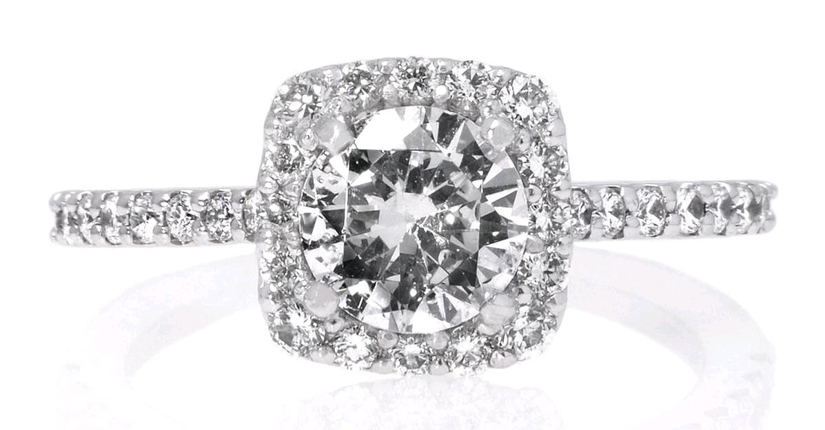 French-Set Square Halo Diamond Band Engagement Ring