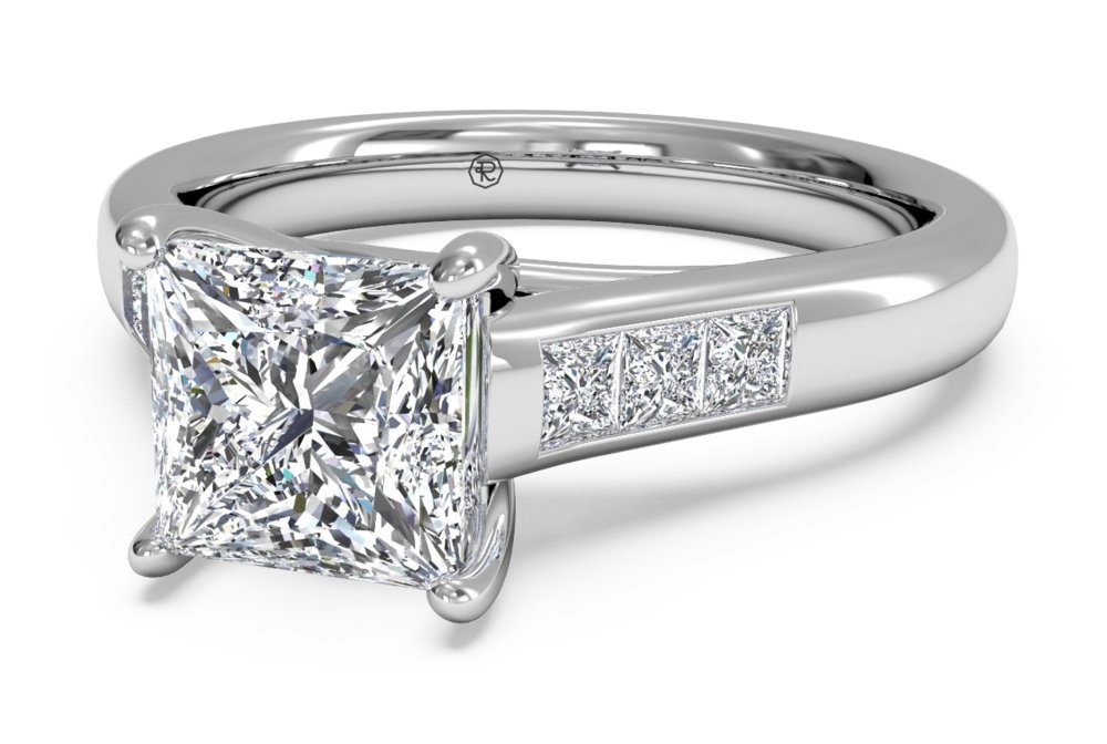 Princess Cut Channel Set Engagement Rings 8
