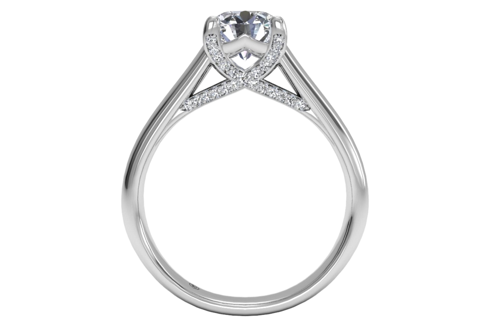 18K White Gold Modern Solitaire Diamond Pave Tulip Detail Engagement Ring